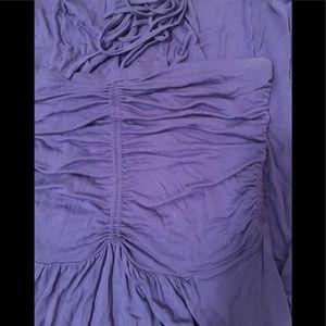 BCBG Maxazria Ruched Halter Tie Maxi Dress